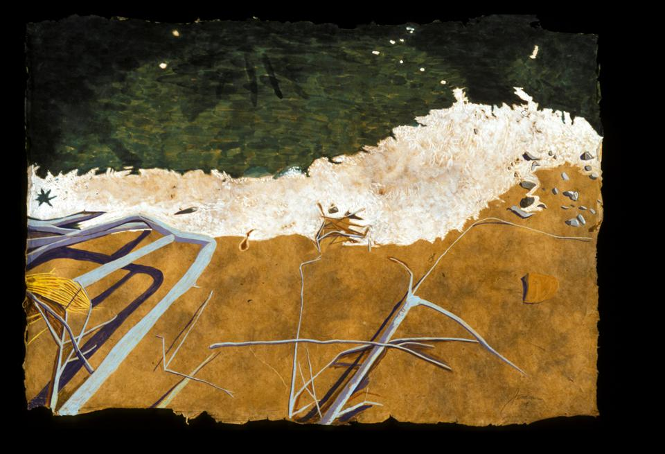 "Peter Jemison, 'Crystalline,' 2004. Mixed media on handmade paper. 21 1/2"" X 31 1/2."